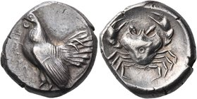 SICILY. Himera. Circa 480-470 BC. Didrachm (Silver, 18.5 mm, 8.59 g, 6 h). ΗΙΜΕRΑ Cock standing to left. Rev. Crab with annulet at the center of its s...