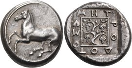 THRACE. Maroneia. Circa 400-377 BC. Stater (Silver, 23 mm, 12.93 g, 1 h), Metrodotos. Horse springing to left. Rev. MHT-PO-ΔOT-OΣ Grape vine with four...