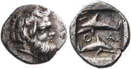 ISLANDS OFF THRACE, Thasos. Circa 412-404 BC. Hemiobol (Silver, 8 mm, 0.48 g, 4 h). Head of bald and bearded satyr to right, with animal ear. Rev. Σ-I...