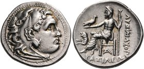 KINGS OF THRACE. Lysimachos, 305-281 BC. Drachm (Silver, 18 mm, 4.28 g, 1 h), with the types of Alexander III of Macedon, Magnesia. Head of Herakles t...