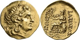 KINGS OF THRACE. Lysimachos, 305-281 BC. Stater (Gold, 21 mm, 8.44 g, 12 h), struck posthoumously, Kallatis, circa 150-125. Diademed head of Alexander...