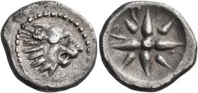 LYCIA. Xanthos. Time of Maussollos of Caria, circa 360 BC. Drachm (Silver, 17 mm, 3.84 g). Lion's head with open jaws to right. Rev. Α - Ρ - [Ξ] (= Ly...