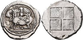 MACEDON. Akanthos. Circa 478-465 BC. Tetradrachm (Silver, 28 mm, 17.19 g), c. 470. Lion, pouncing to right, attacking bull, collapsing to left with he...