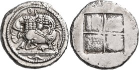 MACEDON. Akanthos. Circa 478-465 BC. Tetradrachm (Silver, 29 mm, 17.46 g), c. 470. Lion, pouncing to right, attacking bull, collapsing to left with he...