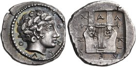 MACEDON, Chalkidian League. Circa 421-420 BC. Tetrobol (Silver, 16 mm, 2.38 g, 1 h), Olynthos. Ο-Λ-Υ-Ν-Θ Laureate head of Apollo to right. Rev. Χ-Α-Λ-...