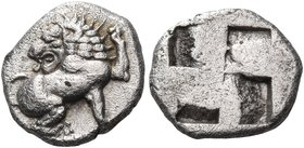 MACEDON. Phagres. Circa 450 BC. Trihemiobol (Silver, 11 mm, 1.10 g). Lion seated to right, his head turned back to left. Rev. Quadripartite incuse squ...