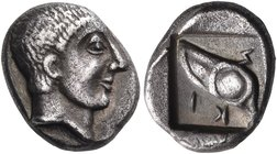 MACEDON. Skione. Circa 480-450 BC. Tetrobol (Silver, 12x9 mm, 2.17 g, 6 h). Bare head of Protesilaos to right. Rev. ϟ - ΚΙ Eye (from a galley prow); d...