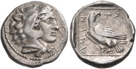 KINGS OF MACEDON. Amyntas III, 393-370/69 BC. Triobol (Silver, 13 mm, 1.79 g, 4 h), Pella. Head of youthful Herakles to right, wearing lion's skin hea...