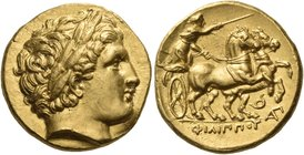KINGS OF MACEDON. Philip II, 359-336 BC. Stater (Gold, 14 mm, 8.63 g, 11 h), struck under Philip III, Lampsakos, circa 323-316. Laureate head of Apoll...