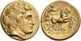 KINGS OF MACEDON. Philip II, 359-336 BC. Stater (Gold, 17 mm, 8.70 g, 11 h), struck under Philip III, Kolophon, 323-317. Laureate head of Apollo to ri...
