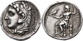 "KINGS OF MACEDON. Alexander III 'the Great', 336-323 BC. Tetradrachm (Silver, 27 mm, 17.26 g, 7 h), ""Pella"", 325-315. Head of Herakles to left, wearin..."