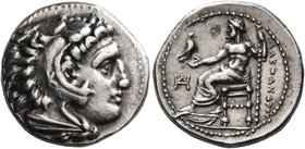 KINGS OF MACEDON. Alexander III 'the Great', 336-323 BC. Drachm (Silver, 16 mm, 4.33 g, 12 h), signed by K..., Miletos, c. 325-323. Head of Herakles t...