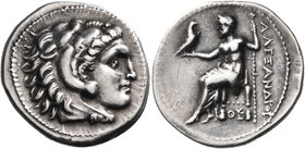KINGS OF MACEDON. Alexander III 'the Great', 336-323 BC. Drachm (Silver, 20 mm, 4.25 g, 1 h), struck posthumously, in an uncertain mint in western Asi...