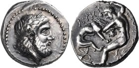 KINGS OF PAEONIA. Lykkeios, Circa 359-335 BC. Tetradrachm (Silver, 22.5 mm, 12.78 g, 6 h). Laureate head of Zeus to right. Rev. ΛΥΚΚ-ΕΙΟΥ Herakles, nu...
