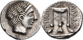 ILLYRO-PAEONIAN REGION. Damastion (Dardania). Circa 330-280 BC. Tetradrachm (Silver, 25 mm, 12.82 g, 6 h). Laureate head of Apollo to right. Rev. ΔΑΜΑ...