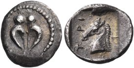 THESSALY. Trikka. Third quarter of the 5th century BC. Hemiobol (Silver, 9 mm, 0.42 g, 3 h). Steer hoof. Rev. ΤΡΙ - Κ Horse's head to left; all within...