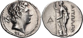 AITOLIA, Aitolian League. Circa 250-225 BC. Stater (Silver, 26.5 mm, 10.43 g, 6 h). Head of Apollo to right, wearing oak wreath; below neck, ΦΙ. Rev. ...