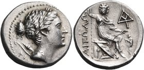 AITOLIA, Aitolian League. Circa 250-225 BC. Drachm (Silver, 19 mm, 5.35 g, 1 h). Laureate head of Artemis to right, with bow and quiver over her right...