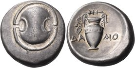 BOEOTIA. Thebes. Circa 395-338 BC. Stater (Silver, 23 mm, 12.21 g), Damo... Boeotian shield. Rev. ΔΑ-ΜΟ Amphora, with ivy spray hanging from left hand...
