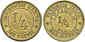El Salvador. Messing-Token zu 1/4 Real o.J. der Apotheke (Farmacia Colon - Importatioon Directa) J.E. Candray in San Vicente. 27,2 mm minimaler Randfe...