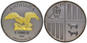 Andorra. 1 diner. 2014. Ag. 31,22 g. Gold plated and Ruthenium Edition. Eagle. PR. Est...50,00.