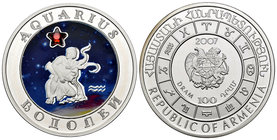 Armenia. 100 dram. 2007. (Km-157). Ag. 28,28 g. Coloured Edition. Aquarius horoscope zodiac zircon. PR. Est...40,00.