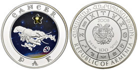 Armenia. 100 dram. 2008. (Km-162). Ag. 28,28 g. Coloured Edition. Cancer horoscope zodiac zircon. PR. Est...40,00.