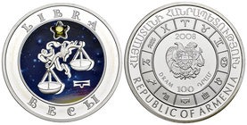 Armenia. 100 dram. 2008. (Km-165). Ag. 28,28 g. Coloured Edition. Libra horoscope zodiac zircon. PR. Est...40,00.