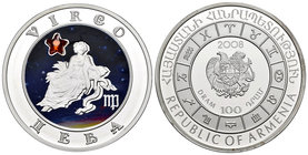 Armenia. 100 dram. 2008. (Km-164). Ag. 28,28 g. Coloured Edition. Virgo horoscope zodiac zircon. PR. Est...40,00.
