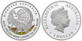 Australia. Elizabeth II. 1 dollar. 2010. Perth. P. (Km-1403). Ag. 31,11 g. Coloured Edition. Lizard. PR. Est...40,00.