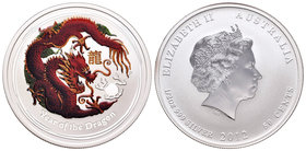 Australia. Elizabeth II. 50 cents. 2012. Perth. P. (Km-1663a). Ag. 15,55 g. Year of the Dragon. Coloured. PR. Est...25,00.