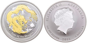 Australia. Elizabeth II. 1 dollar. 2012. Perth. P. (Km-1664.1). Ag. 31,11 g. Partial gold plated. Year of the Dragon. PR. Est...40,00.