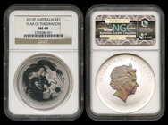 Australia. Elizabeth II. 1 dollar. 2012. P. (Km-1664). Ag. Year of the Dragon. Encapsulada por NGC como MS69. Est...50,00.