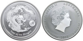 Australia. Elizabeth II. 2 dollars. 2012. P. (Km-1664). Ag. 62,27 g. Year of the Dragon. Private mark: Lion. PR. Est...60,00.