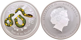 Australia. Elizabeth II. 1 dollar. 2013. Perth. P. (Km-1831b). Ag. 31,10 g. Coloured Edition. Year of the Snake. PR. Est...45,00.