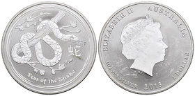 Australia. Elizabeth II. 1 dollar. 2013. Perth. P. (Km-18,31). Ag. 31,11 g. Year of the Snake. Minor contact marks. PR. Est...25,00.