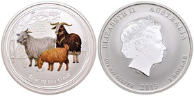 Australia. Elizabeth II. 1 dollar. 2015. Perth. P. (Km-no cita). Ag. 31,10 g. Coloured Edition. Year of the Goat. PR. Est...40,00.