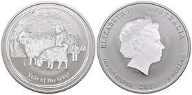Australia. Elizabeth II. 1 dollar. 2015. Perth. P. (Km-no cita). Ag. 31,10 g. Year of the Goat. Est...25,00.