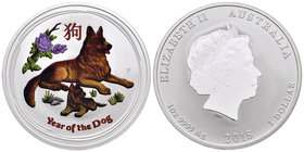 Australia. Elizabeth II. 1 dollar. 2018. Perth. P. (Km-no cita). Ag. 31,10 g. Coloured Edition. Year of the Dog. PR. Est...40,00.
