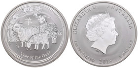 Australia. Elizabeth II. 1 dollar. 2015. Perth. P. (Km-no cita). Ag. 31,10 g. Year of the Goat. PR. Est...25,00.