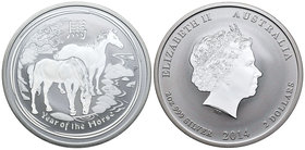 Australia. Elizabeth II. 2 dollars. 2014. P. (Km-2112). Ag. 62,27 g. Year of the Horse. PR. Est...60,00.