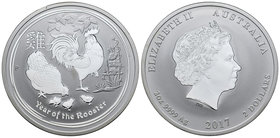 Australia. Elizabeth II. 2 dollars. 2017. P. Ag. 62,27 g. Year of the Rooster. PR. Est...60,00.