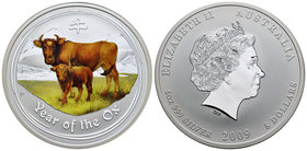 Australia. Elizabeth II. 8 dollars. 2009. P. Ag. 155,52 g. Year of the Ox. Coloured. PR. Est...150,00.
