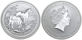 Australia. Elizabeth II. 8 dollars. 2014. P. (Km-2113). Ag. 155,52 g. Year of the Horse. PR. Est...150,00.