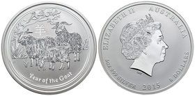 Australia. Elizabeth II. 8 dollars. 2015. P. (Km-2113). Ag. 155,52 g. Year of the Goat. PR. Est...150,00.