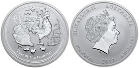 Australia. Elizabeth II. 8 dollars. 2016. P. (Km-2113). Ag. 155,52 g. Year of the Rooster. PR. Est...150,00.