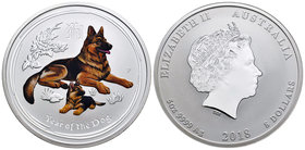 Australia. Elizabeth II. 8 dollars. 2018. P. (Km-2113). Ag. 155,52 g. Year of the Dog. Coloured. PR. Est...150,00.