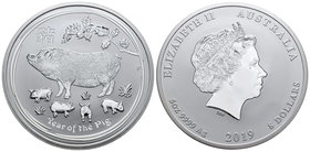 Australia. Elizabeth II. 8 dollars. 2019. P. (Km-2113). Ag. 155,52 g. Year of the Pig. PR. Est...150,00.