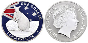 Australia. Elizabeth II. 1 dollar. 2012. (Km-1737 variante). Ag. 31,11 g. Coloured Edition. Mareeba Rock Wallaby. PR. Est...50,00.
