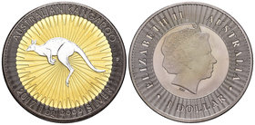 Australia. Elizabeth II. 1 dollar. 2017. Perth. P. (Km-no cita). Ag. 31,11 g. Gold plated and Ruthenium Edition. Kangaroo. Tirada de 300 piezas. Con c...